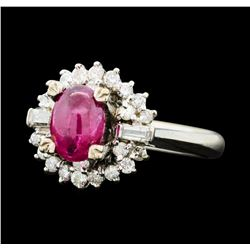1.00 ctw Ruby And Diamond Ring - 10KT White Gold