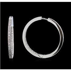 0.76 ctw Diamond Hoop Earrings - 18KT White Gold