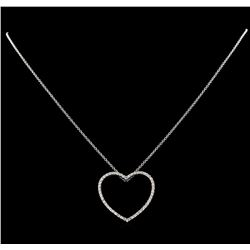0.48 ctw Diamond Pendant With Chain - 14KT White Gold