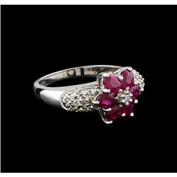 1.92 ctw Ruby and Diamond Ring - 14KT White Gold