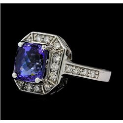 3.98 ctw Tanzanite and Diamond Ring - 14KT White Gold
