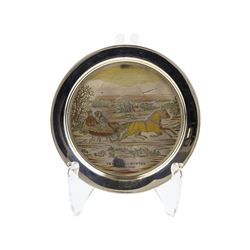 Limited Edition Currier & Ives 1972 The Road Danbury Mint Sterling Silver Plate