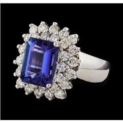 4.24 ctw Tanzanite and Diamond Ring - 14KT White Gold