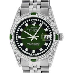 Rolex Mens Stainless Steel Diamond Lugs Green Vignette & Emerald Datejust Wristw