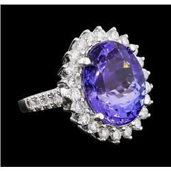 GIA Cert 11.78 ctw Tanzanite and Diamond Ring - 14KT White Gold