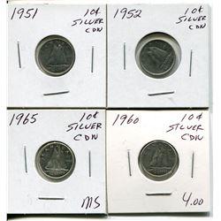 4 CNDN SILVER DIMES 1951, 52, 60, 65
