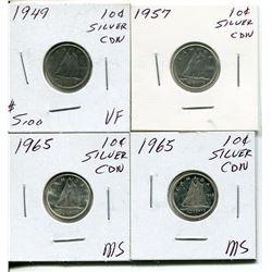 4 CNDN SILVER DIMES 1949, 57, 2 - 65