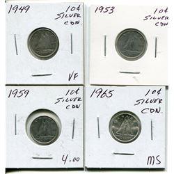 4 CNDN SILVER DIMES 1949, 53, 59, 68