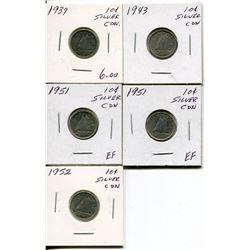 5 CNDN SILVER DIMES 1939, 43, 2 - 1951, 52