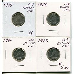 4 CNDN SILVER DIMES 1949, 53, 60, 63