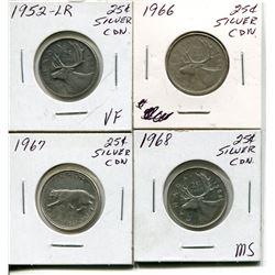 4 CNDN SILVER QUARTERS 1952, 66, 67, 68