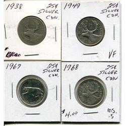 4 CNDN SILVER QUARTERS 1938, 49, 67, 68