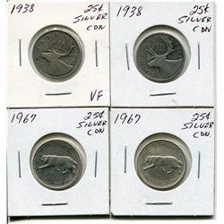 4 CNDN SILVER QUARTERS 2 - 1938, 2 - 1967