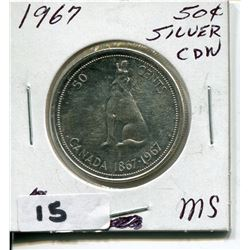 1967 CNDN SILVER 50 CENT PC