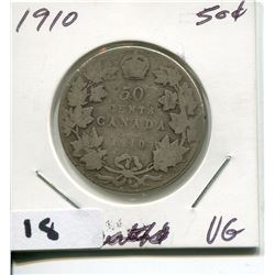 1910 CNDN SILVER 50 CENT PC