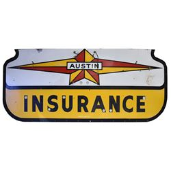 Austin Insurance Porcelain Sign