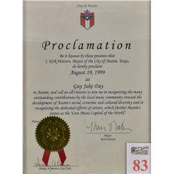 """Guy Juke Day"" Proclamation Certificate"