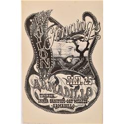 Waylon Jennings Armadillo World HQ Concert Poster