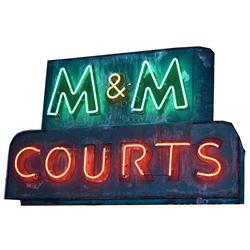 M & M COURTS Neon Sign Austin Texas