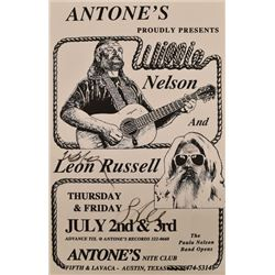 Willie Nelson Leon Russell, Antone's Poster Signed