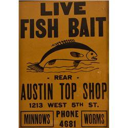 """Austin Top Shop, """"Live Fish Bait"""" Poster"""