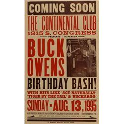 Buck Owens Birthday Bash Continental Club Poster