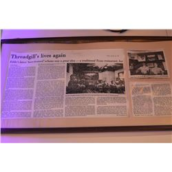 Threadgills Lives Again Framed Newspaper Article