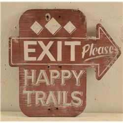 Exit Happy Trails Treadgill's Sign