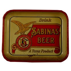 Sabinas Pre Prohibition Beer Tray Lone Star