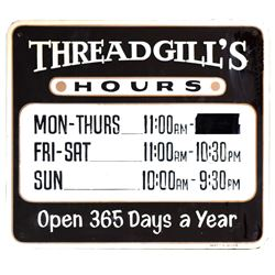Threadgill's Hours Sign