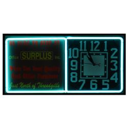 Surplus Office Inc Clock and Neon Sign