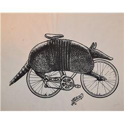 Jim Franklin Original Armadillo Bicycle Drawing