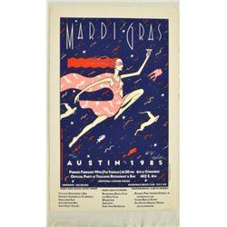 1985 Austin Mardi Gras Signed Poster 380/450