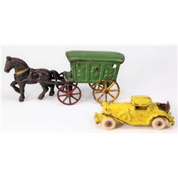 Collection of 2 antique cast iron toys