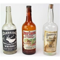 Collection of 3 pre prohibition whiskey bottles