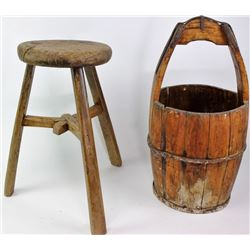 Collection of 2 includes primitive wood