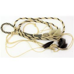 Braided horsehair bosal in black and white