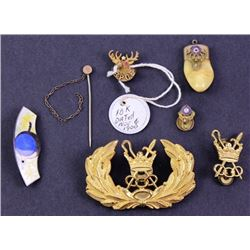 Collection of 6 misc. items includes Elks fobs,