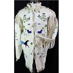 Sioux pictorial beaded and fringed scout jacket