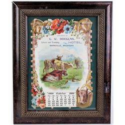 1900 die cut calendar advertising G.W. Douglas