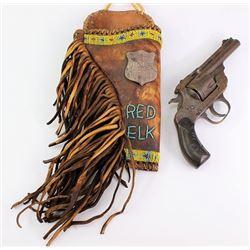 Fringed leather holster beaded Red elk