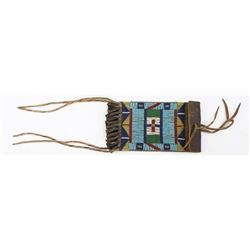 Beaded on harness leather Northern Plains