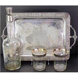 Liquor set includes silver overlaid bottle
