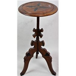 1880's Victorian walnut stand incised carved
