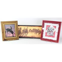 Collection of 3 framed items includes