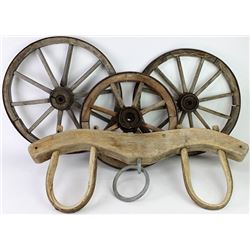 Collection of 3 small wooden wagon wheels