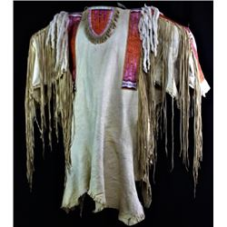Contemporary quill and fringed Sioux war shirt