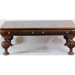 19th C. double drawer mahogany writing desk
