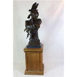Large bronze patinated metal sculpture of Indian