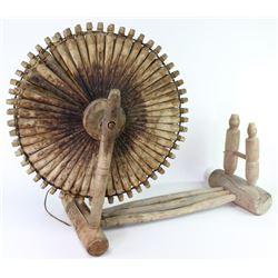 Early American primitive yarn spinning wheel